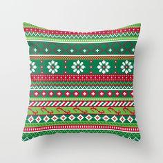 Fair Isle Christmas Pattern Throw Pillow