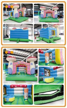AQ02105-1(4X4X3.3/13.12'*13.12'*10.8') Look at this! You can see a big mushroom bouncer house with fresh color and beautiful printing which will make kids love it at the first sight.