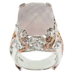 Michael Valitutti Two-tone Cushion-cut Rose Quartz Ring (size 5.5), Women's, Pink