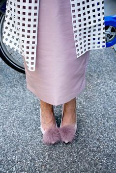 Pompom fur pumps // purple heels // fashion and style blogger // fall shoes // http://fashionandfrills.com/nyfw-recap-windowpane-trench-pompom-pumps/