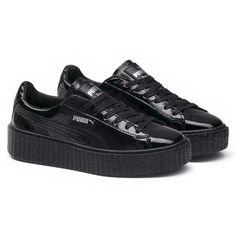 Puma Black Fenty X Puma Cracked Leather Creeper (€125) ❤ liked on Polyvore featuring shoes, creeper platform shoes, black creeper shoes, creeper shoes, puma shoes and puma creeper