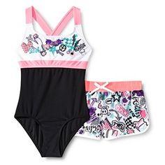 985d17ea76 R-Way by ZeroXposur Girls  1-Piece Doodle Swimsuit and Swim Short Set
