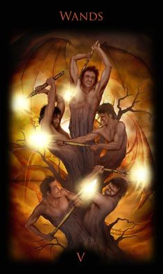 Legacy of the Divine Tarot / Gateway to the Divine Tarot by Ciro Marchetti - 5 of Wands