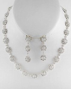 Bridal Prom Pageant Silver Tone Chain Clear Crystal Rhinestone Necklace Set #LisasJewelryBoutique