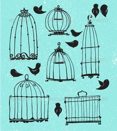 Realistic Graphic DOWNLOAD (.ai, .psd) :: http://jquery-css.de/pinterest-itmid-1006340008i.html ... Set of Doodle Cages and Little Birds ...  bird, bird cage, birdcage, cage, cartoon, decoration, decorative element, doodle, drawing, hand-drawn, illustration, line art, outline, retro, silhouette, sketch, small, textured, vector  ... Realistic Photo Graphic Print Obejct Business Web Elements Illustration Design Templates ... DOWNLOAD :: http://jquery-css.de/pinterest-itmid-1006340008i.html