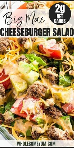 Big Mac Salad - Cheeseburger Salad Recipe (Low Carb, Gluten-Free) - This easy low carb Big Mac salad recipe is ready in just 20 minutes! A gluten-free, keto cheeseburger salad like this makes a healthy lunch or dinner. recipes with chicken Hamburger Salad Recipe, Low Carb Hamburger Recipes, Cheeseburger Salad Recipe, Mac Salad Recipe, Big Mac Sauce Recipe, Salad Recipes Low Carb, Salad Recipes For Dinner, Low Carb Dinner Recipes, Chicken Salad Recipes