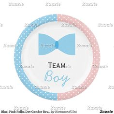 Blue, Pink Polka Dot Gender Reveal Bow and Bow Tie