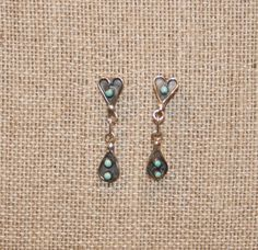 Zuni Old Pawn Turquoise Snake Eyes Heart & Tear Drop Post Earrings  Free USA Shipping! by Route66Diner on Etsy