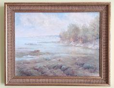 Original Oil On Board Painting Signed Sea Scape Coastal Scene Boat Gilt Framed