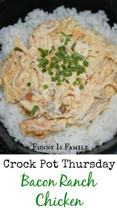 Creamy, bacony, perfect comfort food. #crockpot #slowcooker #chicken Crockpot Dishes, Crock Pot Slow Cooker, Crock Pot Cooking, Slow Cooker Recipes, Crockpot Recipes, Cooking Recipes, Chicken Recipes, Chicken Bacon Ranch Crockpot, Creamy Crockpot Chicken