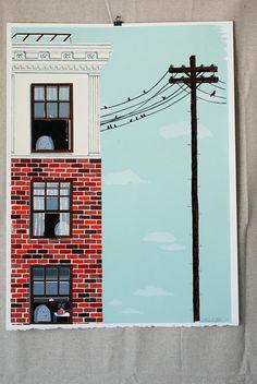 Untitled (Telephone Pole)- Original hand printed screenprint- Limited Edition