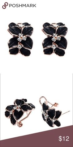 Gardenia Midnight Stud Earrings New! Gardenia style alloy and crystal stud earrings in black. Gardenia L x W- approx 2.5 x 1.6cm. Stud Length- approx 1.1cm. **FREE GIFT BOX WITH PURCHASE. While supplies last.** Jewelry Earrings