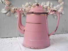 Fabulous Vintage French Antique Enamel Pink Coffeepot. $115.00, via Etsy.