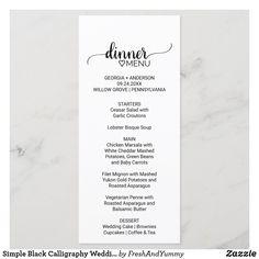 Simple Black Calligraphy Wedding Menu Rustic Wedding Menu, Wedding Dinner Menu, Wedding Menu Cards, Elegant Wedding, Rehearsal Dinner Menu, Lobster Bisque Soup, Ceasar Salad, Chicken Marsala, White Cheddar