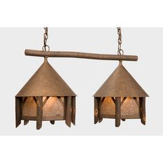 Steel Partners Campromise Double Anacosti Light Pendant Finish: Architectural Bronze, Shade / Lens: Slag Glass Pretended
