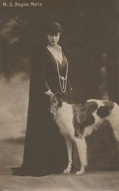 Königin Marie von Rumänien, Queen of Romania, with a borzoi Romanian Royal Family, Borzoi Dog, Whippets, Russian Wolfhound, Old Time Photos, Greyhound Art, Lurcher, Vintage Dog, Old Dogs