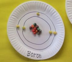 Bohr models made from paper plates and Trix cereal- More Middle School Science Bulletin Boards