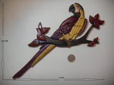 Items similar to intarsia, wood handmade macaw on Etsy Intarsia Woodworking, Diy Woodworking, Manado, Scroll Saw, Felt, Birds, Unique Jewelry, Handmade Gifts, Projects