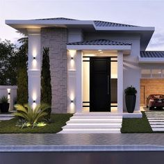 This is a unique home design minimalis for your home. Classic House Design, House Front Design, Minimalist House Design, Small House Design, Modern House Design, Dream House Exterior, Dream House Plans, Modern House Plans, Morden House