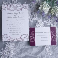 Simple plum damask wedding invitations EWI230 as low as $0.94