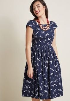 4ac31474aab Plus Size Retro Blue Cocktail Dress - This plus size Midi Dress in a blue  airplanes pattern - There is a lot to love about this super cute retro  inspired ...