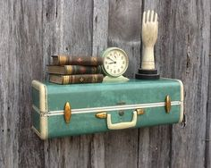 Vintage Ivory Green and Ivory Marbleized Samsonite  Upcycled Suitcase Luggage Wall Shelf  Repurposed Travel Inspired via Etsy