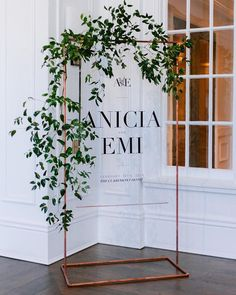 Acrylic welcome sign on copper stand by Bowerbird Atelier | Photo by Patrick Quezada | Planning by Chanda Daniels | at the Claremont Hotel in Berkeley, California
