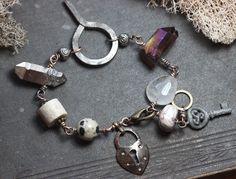 Gemstone and Keyhole Wire Wrapped Bracelet Antiqued Brass Crystal Stone Charm Bracelet by TheTwistedPretzel on Etsy