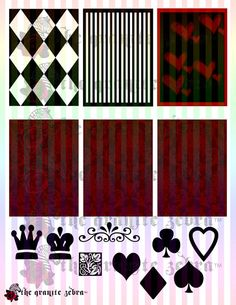 Queen of Hearts Goth ACEO Background Stock Pack by TheGraniteZebra, $6.00