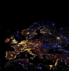 Europe from space. Interesting how Italy shows up so well in the left center of this photograph, also the UK on the left.