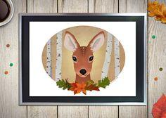 Illustrazione di un disegno digitale di un cerbiatto in tema autunnale, incorniciala per decorare la tua parete o per fare un fantastico regalo!