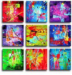 Een bijzonder hip en kleurrijk negendelig canvas schilderij.Het maakt niet uit in welke volgorde de kleine canvasdoeken aan de muur opgehangen worden