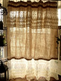 ❤❤❤ PLEASE specify EXACT LENGTH wanted during CHECKOUT ❤❤❤   Simply shabby, beach,cottage chic,French country theme to one shower curtain. Its made of Natural tan Burlap with white cotton linen lace ruffles and jute and vintage style buttons!   **This burlap fabric has been *pre-washed and special treated before made into this shower curtain.Its almost no the bad smell and not such stiff.Very soft and smooth.So shabby chic! Love love... it!:)   This shower curtain pix show measure approx: 72…