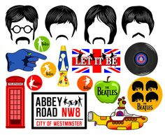 DIY DIGITAL The Beatles photo booth props NO PHYSICAL ITEM