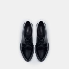 Image 3 of FLAT LEATHER SHOES WITH BLOCK HEEL from Zara
