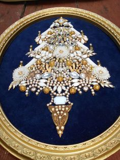 Vintage Rhinestone Jewelry Christmas Tree Framed  Art Milk Glass  13 x 10