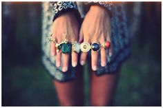 Hand jewels-- Lots of bold boho rings for summer