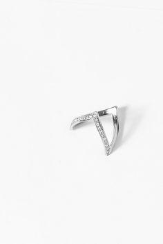 En Pointe Ring  with Diamonds | 18k White Gold