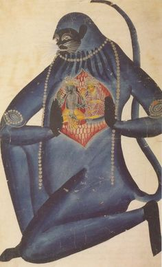 'Hanuman displaying the images stored within his heart', Kalighat folk style painting, From 'The Ocean of Painting; India's Popular Paintings, 1589 to the Present' by Barbara Rossi, 1998 Art And Illustration, Illustrations, Zoo 2, Popular Paintings, Art Populaire, Motifs Animal, Religion, Mystique, Folk Fashion