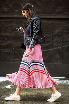 Pleated skirt with stripes and black Moto jacket - street style Pinterest: KarinaCamerino