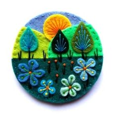 TREESCAPE felt brooch pin with freeform embroidery - scandinavian style Felt Crafts Diy, Felted Wool Crafts, Felt Diy, Felt Embroidery, Felt Applique, Felt Brooch, Brooch Pin, Flower Brooch, Wool Art