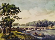Fanny Palmer (American artist, 1812-1876) Published by N Currier View on the Harlem River NY with the High Bridge in the Distance 1852  found by Fran Jurga on Early British & American Public Gardens & Grounds: Fishing