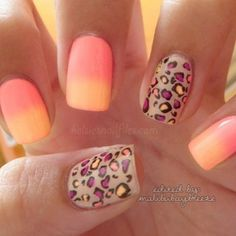 fun cheetah print and horizon nail design