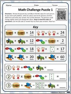 Math Picture Puzzles - Algebraic Thinking - Print and Digital Versions Picture Puzzles, Blended Learning, Fun Math, Critical Thinking, Problem Solving, Projects To Try, Digital, Maths Fun