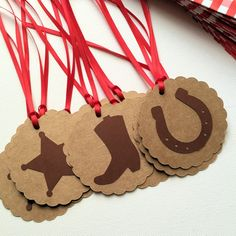 Cowboy gift tags with ribbons. Wild West birthday party
