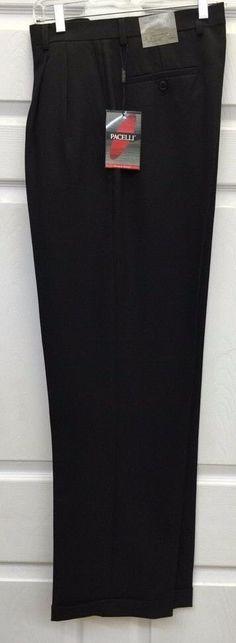 Pacelli Black Men's 2 Pleat Cuffed Dress Pants 100% Polyester Pierce / 810000 #Pacelli #DressPleat