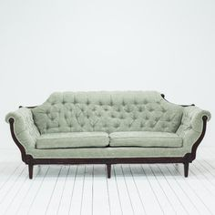 Sage Green Velvet Sofa | Tufted Antique Sofa | Birch & Brass Vintage Rentals | Weddings and Corporate Events | Austin, Texas