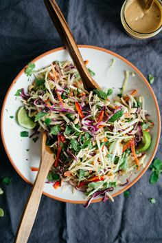 Thai Slaw — dolly and oatmeal Healthy Salad Recipes, Vegetarian Recipes, Cooking Recipes, Crockpot Recipes, Clean Eating, Healthy Eating, Asian Recipes, Tea Recipes, Recipes Dinner