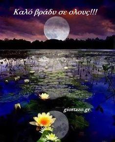 καλο βραδυ Good Morning Good Night, Greek Quotes, Celestial, Outdoor, Beautiful Flowers, Bonito, Outdoors, Outdoor Games, The Great Outdoors