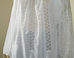 Hand embroidered Romanian peasant blouse, Romanian ethnic shirt with lace - size M